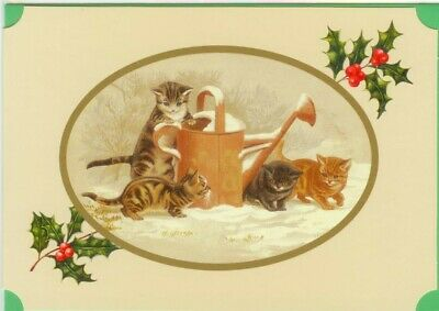 Tabby Cat Christmas Card Cats Playing with Watering Can in Snowy Garden