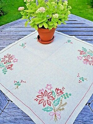 Vintage Swedish linen tablecloth with embroidered pink flowers