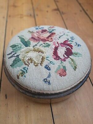 Vintage Victorian Tapestry Embroidered Footstool