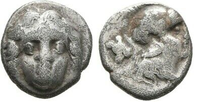 Ancient Greece 3 cent BC Pisidia Selge Silver Obol Gorgoneion Athena Astragalos