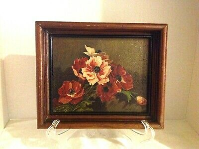 Antique Still Life Oil Painting On Board Shadow Box Frame Signed W. P. Wittmer