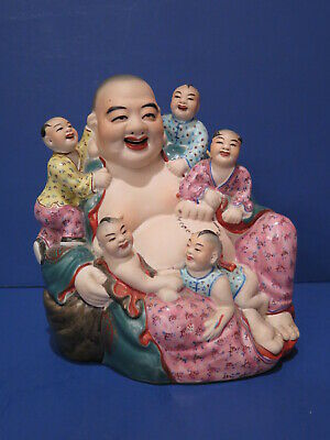 Antique ? Vintage Happy Buddha Children Bisque Glaze Porcelain Figurine Chinese