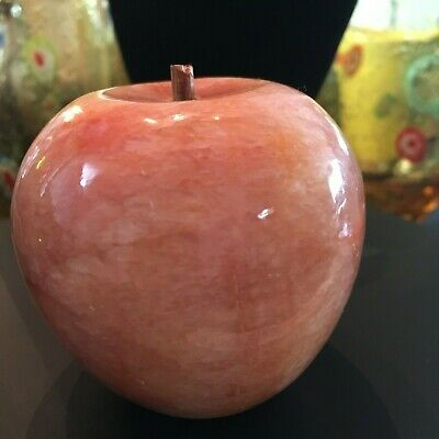 Vintage Marble Granite Agate Alabaster Stone Apple Paperweight wood stem