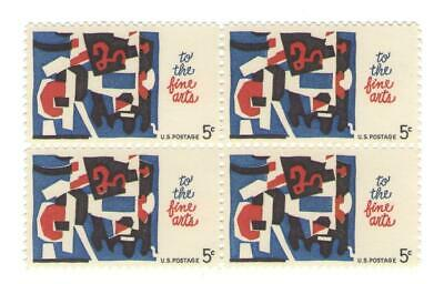 Modern Art by Stuart Davis on Vintage 53 Year Old Mint Stamp Block from 1964
