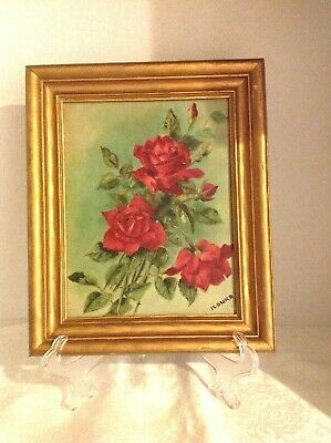 Vintage Still Life Oil Painting On Board Roses Signed Ilonka