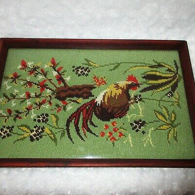 Vtg WOOD 2-Handle LAP or SERVING TRAY Hand Embroidered ROOSTER Needlepoint ART