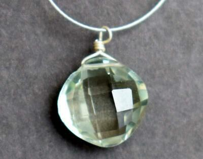 Green Amethyst Bead Faceted Cushion 10 Mm Solid 925 Sterling Silver -1 Pc #529-B