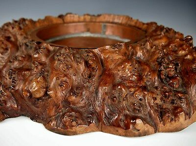 MAGNIFICENT ANTIQUE BURL WOOD STAND Chinese Scholar's Display Base Qing Dynasty
