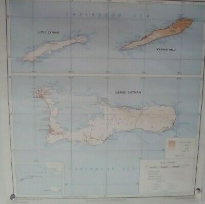 Antique Edward Stanford  LTD Cayman Islands Map Crown Copyright 1972 Vintage