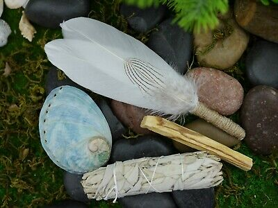 Smudging Kit  Feather Wand ( Abalone Shell 8.5cm ) White Sage, Palo Santo Smudge