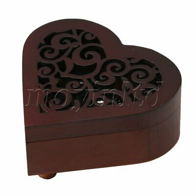 """""""Happy Birthday"""" Melody Creative Heart Shaped Vintage Wood Carved Musical Box"""