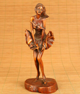 Rare Chinese old boxwood hand carved skirt belle statue figure table ornament