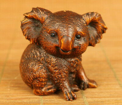 Chinese old boxwood hand carving koala statue netsuke table home decoration gift