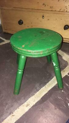 Victorian Antique Stool Shabby Chic Green