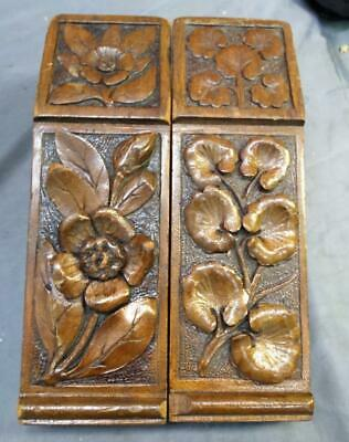 Antique Set of Two Wood Carved Corbel Corbels Mission Era Bookends Pair Set of 2