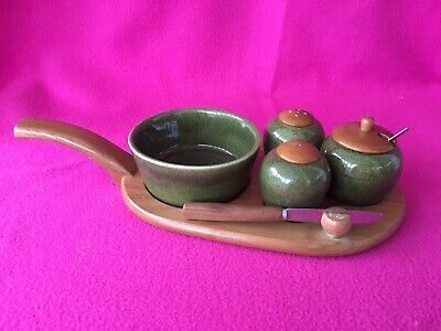 Jie Gantofta of Sweden Vintage Retro Green Ceramic & Teak Cruet Set