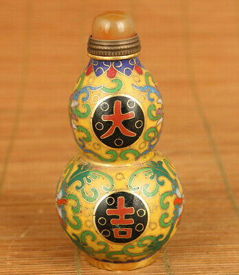 Rare China old cloisonne Handcarved good luck flower statue snuff bottle gift