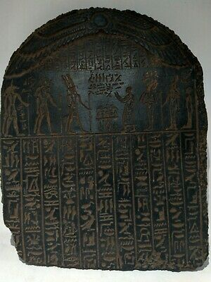 RARE ANTIQUE ANCIENT EGYPTIAN Stela King Amenhotep 5 Gods Anubis Isis 1426 bc