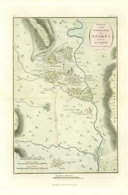 1817 Original Antique MAP Topography of SPARTA Ancient GREECE Anacharsis (10)