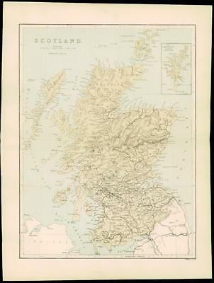 "1865 - Antique Map of ""THE ORKNEY AND SHETLAND ISLANDS"" Scotland by W Hughes (51"