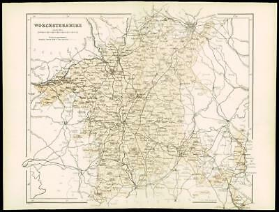 """1865 - Original Antique Map of """"WORCESTERSHIRE"""" by W Hughes  (11)"""