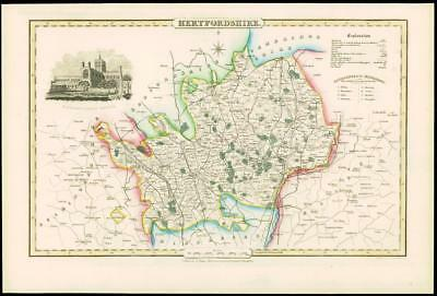 1846 - Original Antique Map of HERTFORDSHIRE by Slater ST ALBANS ABBEY CHURCH
