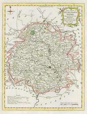 1764 Original Antique Map - HEREFORDSHIRE by Thomas KITCHIN Hand coloured (16)