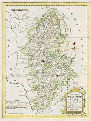 1764 Original Antique Map - STAFFORDSHIRE by Thomas KITCHIN Hand coloured (33)
