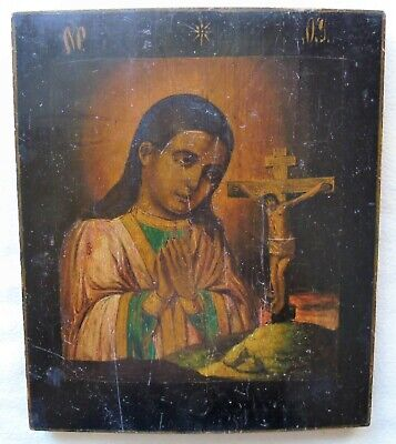 "Antique Russian icon of the Virgin ""Akhtyrskaya"". 19th century. 31.5х26,5 cm."