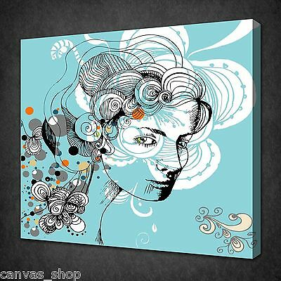 Abstract Women Scribble Teal Modern Wall Art Picture Canvas Print Ready To Hang