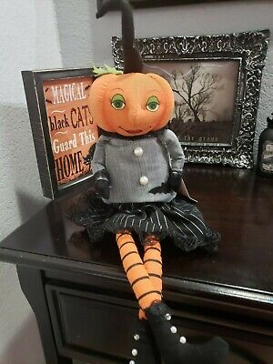 Halloween Primitive Vintage Style Pumpkin Head Doll Bat Shelf Sitter Decor