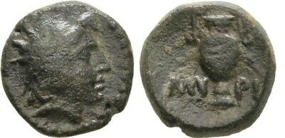 Ancient Greece 3 Cent BC Aeolis AE Myrina Helios amphora