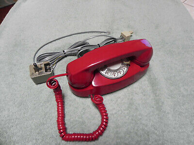 1964 Red Western Electric Bell System Princess Rotary Desk Telephone-Restored