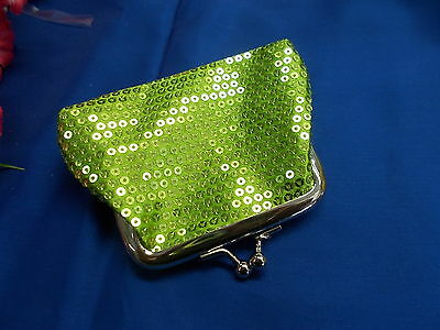 *** Stylish Green Sequin Coin Purse - Clasp / Snap Closure/Open New # 56