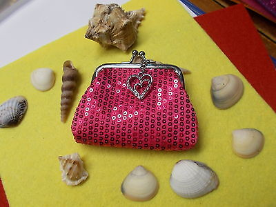 * Stylish Pink Sequin Coin Purse - With Silver Crystal Love Heart Charm New # 33