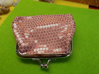 *** Stylish Pink Sequin Coin Purse - Clasp / Snap Closure/Open New # 57