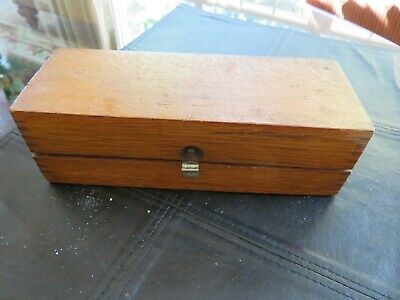 "ANTIQUE WOOD BOX Hinged Lid Solid 8.5"" x 2.5"" x 3.25"" Dovetail Joint corners"