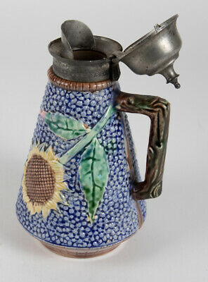 Griffin, Smith & Hill ETRUSCAN Majolica SUNFLOWER Pewter Top Syrup Pitcher