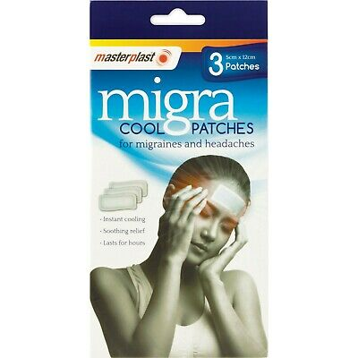 INSTANT PAIN RELIEF Migra Migraine Pain Headache Cool Cold Patches Soothing 3pck