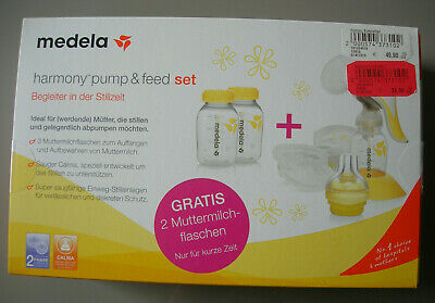 Medela Handmilchpumpe Harmony pump and feed Set mit Calma Sauger + Flaschen