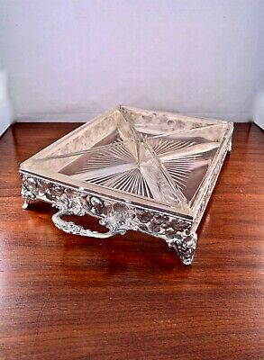 Large Wolf & Knell Hanau Solid Silver & Glass Divided Tray W/ Figural Feet 665G