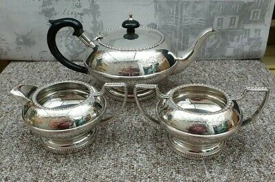 Silver Plated Teapot Set With Engraved Flower Pattern Milk Jug And  Sugar Bowl