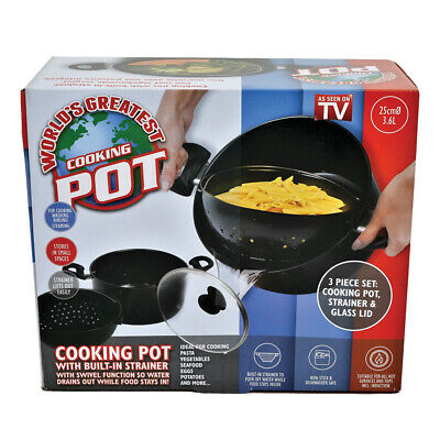 World's Greatest Cooking Pot As Seen On TV Strainer Basket Always Stays Upright!