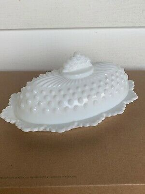 Vintage Fenton White Milk Glass Hobnail Oval Covered Butter Dish Crown Edge