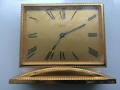 Bucherer Imhof Swiss 8 day table mantel clock with solid frame gilt brass No Res