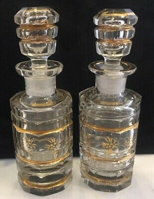 Pair of c1880 French Crystal Vanity / Perfume Bottles - Probably Baccarat