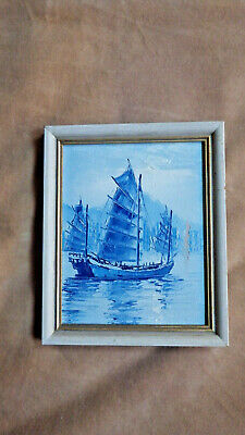 Miniature Blue Chinese Junk Boat Painting Oil on Panel Framed 20th Century 6x7