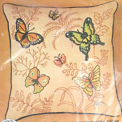 """BUTTERFLIES Crewel Embroidery Kit Butterfly Monarch 16"""" Square Pillow Kit"""