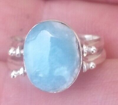 TWO SIDE LARIMAR AMBER stones 925 sterling silver RING size 6 a-8