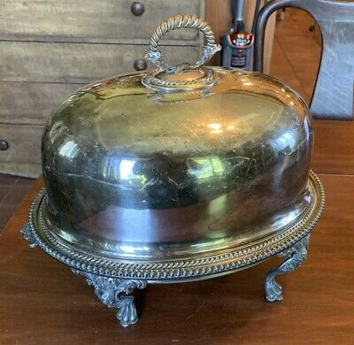 COMPLETE Antique WALKER & HALL Old Sheffield Silver Plate CLOCHE & Warming Stand